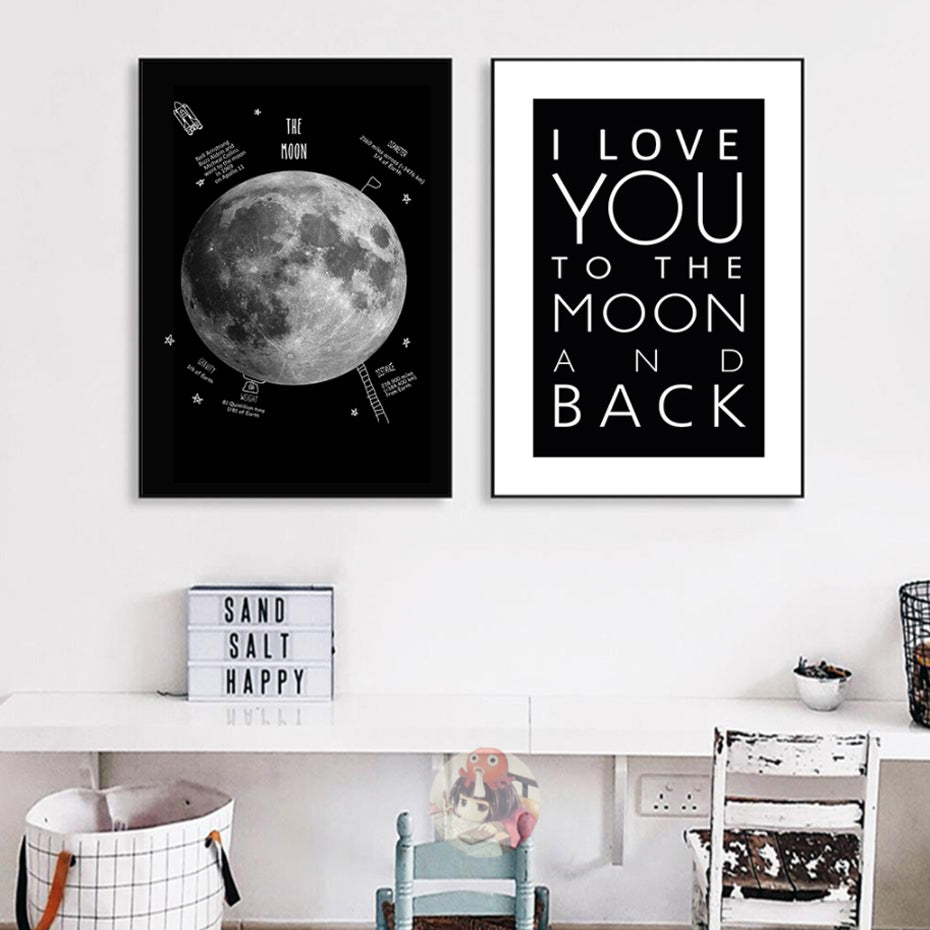 I love you to the moon and back wall art posters modern black and white moon