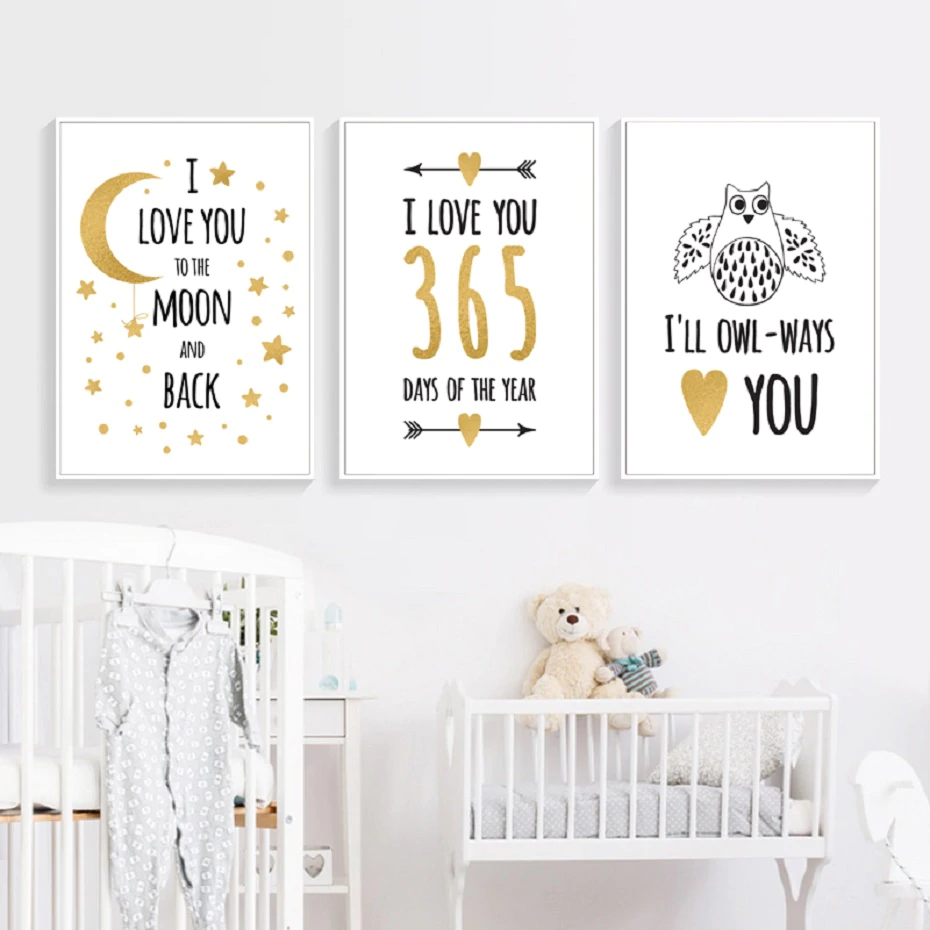 I Love You To The Moon Minimalist Nordic Nursery Wall Art Fine Art Canvas Prints Modern Pictures For Kids Room Baby's Room Wall Decor