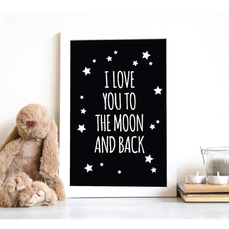 I Love You To The Moon and Back Classic Quotes Canvas Nordic Black and White Poster Wall Art Paintings For Kids Nursery Room Decor