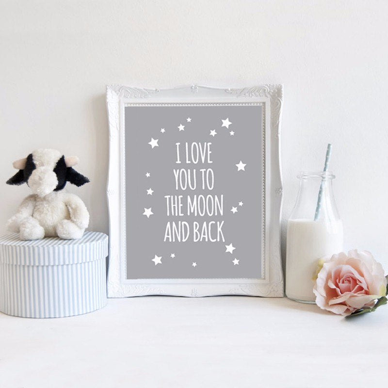 I Love You To The Moon and Back Classic Quotes Canvas Nordic Grey and White Poster Wall Art Paintings For Kids Nursery Room Decor