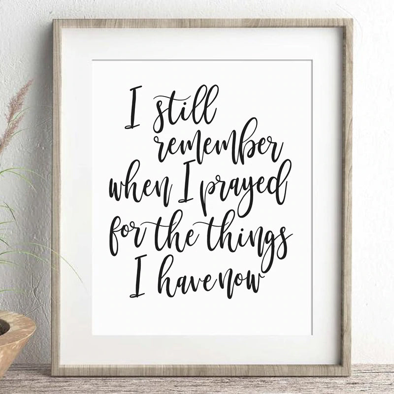 I Still Remember Quotation Poster Fine Art Canvas Print Black White Minimalist Nordic Style Postivity And Thankfulness Quotes For Modern Home Wall Decor