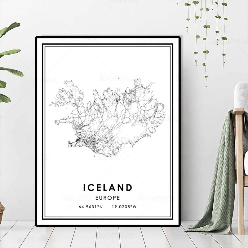 Iceland Wall Map Black White Fine Art Canvas Print Minimalist Design Europe Travel Poster Nordic Style Picture For Living Room Home Office Art Decoration