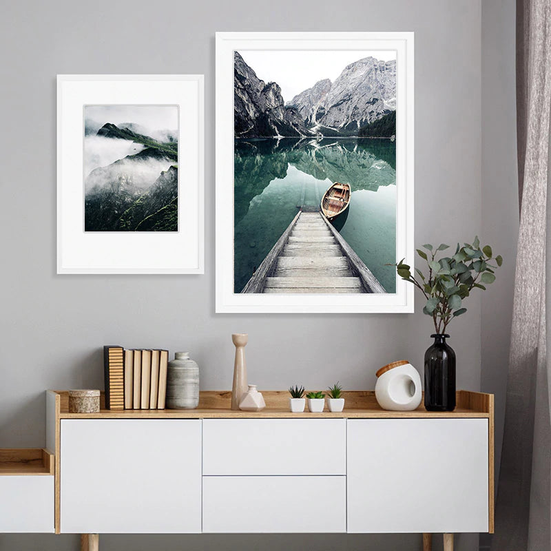 Idyllic Scenes Of Mountain Wilderness Wall Art Tranquil Lake Boat Reflections Pictures Of Calm Fine Art Canvas Prints Nordic Home Decor