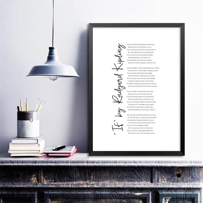 If By Rudyard Kipling Famous Poem Wall Art Black White Minimalist Fine Art Canvas Prints Literary Classics Posters Pictures For Home Office Living Room Decor