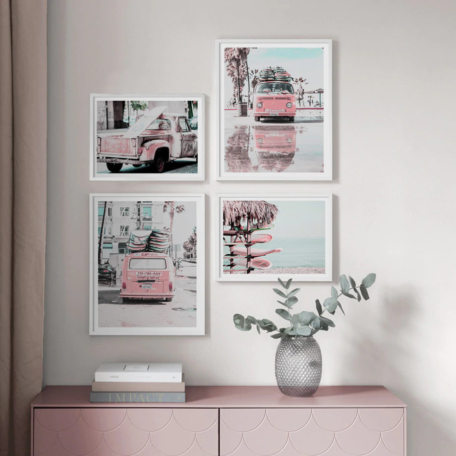 If You Can Dream It You Can Do It Pink Campervan Surf Life Beach Dreams Gallery Wall Art Fine Art Canvas Prints Nordic Style Home Interior Decor