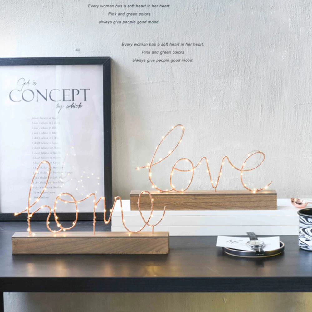 Illuminated Love Letters Bedside Table LED Light Ornament Metal Wireframe Letters Night Light Bedroom Accessories Nordic Home Interior Furnishings