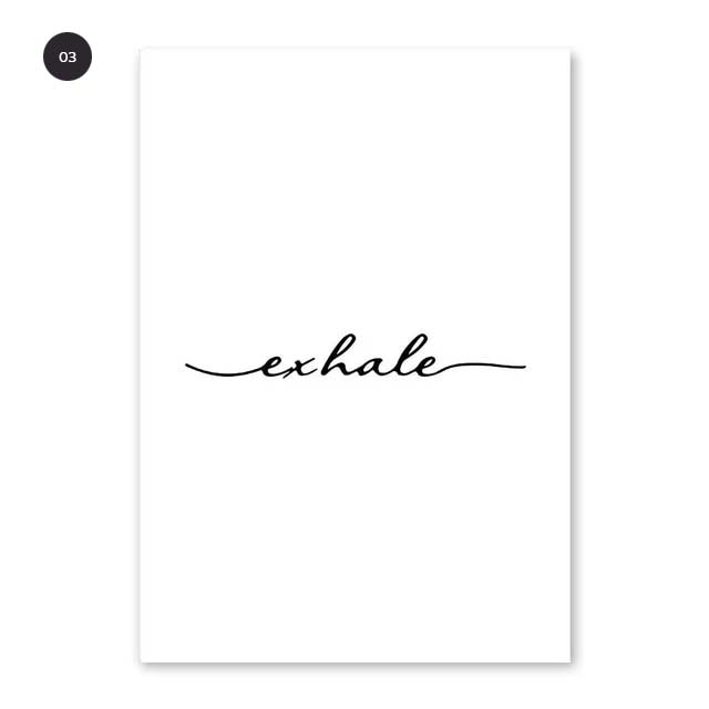 Inhale Exhale Minimalist Spiritualist Wall Art Black And White Fine Art Canvas Prints Meditation Posters For Yoga Studio Pictures For Modern Home Decor