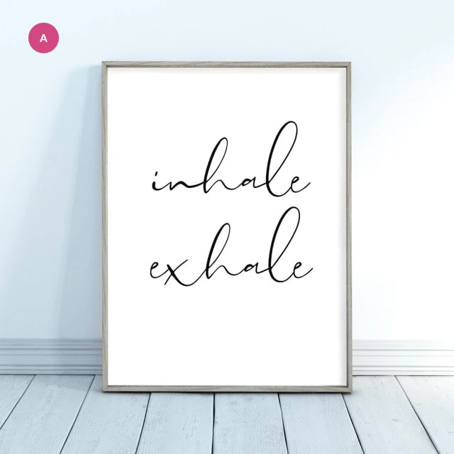 Inhale Exhale Pink Namaste Lotus Wall Art Fine Art Canvas Prints Modern Minimalist Meditation Quote Pictures Of Calm For Yoga Studio Wall Art Decor