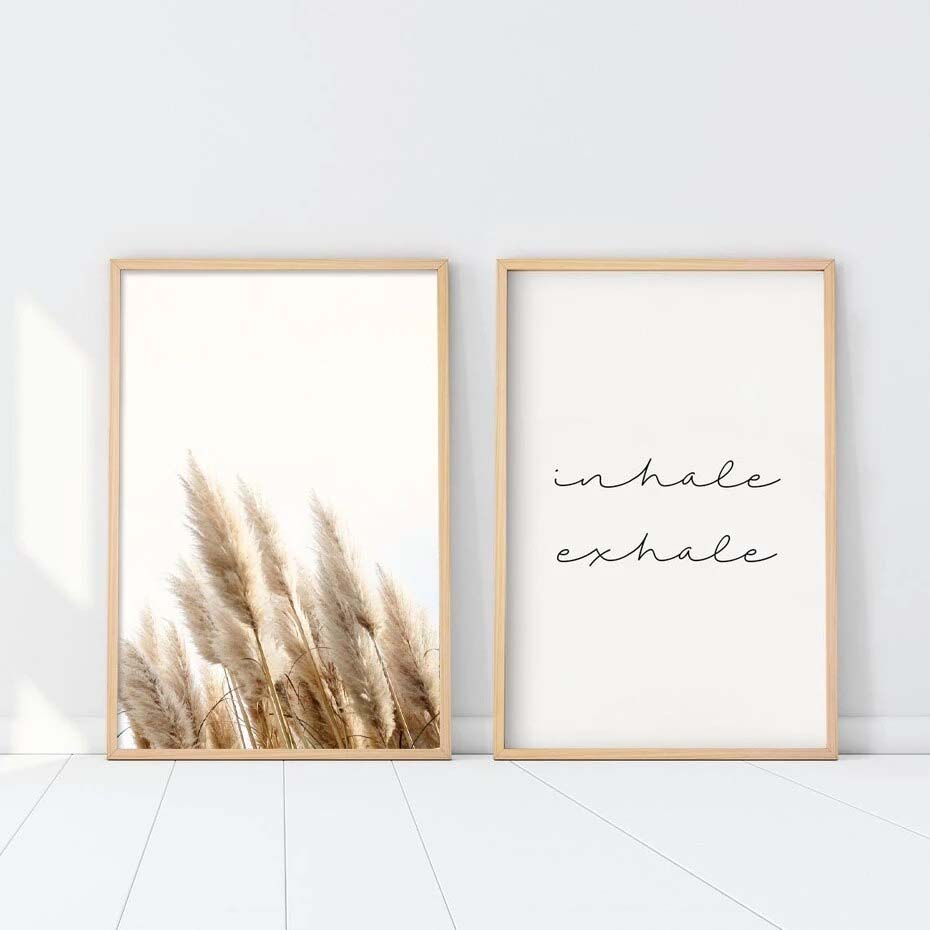 Inhale Exhale Posters Fine Art Canvas Prints Neutral Colors Pampas Grass Pictures Of Calm Yoga Meditation Pictures For Studio Living Room Home Office Art Decor