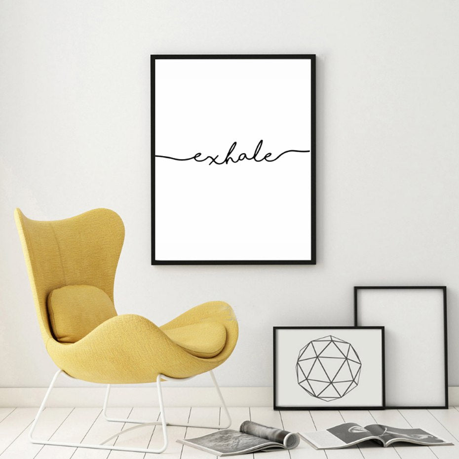 Inhale Exhale Word Art Canvas Wall Prints Minimalist Black White Letters Poster Art Abstract Paintings Salon Wall Art For Modern Home Decor