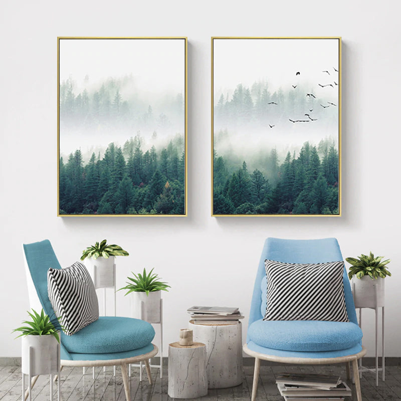 Inspirational Mystical Forest Landscape Posters Nordic Nature Canvas Wall Art Prints Paintings For Offices, Salons and Modern Home Decor - 3 Pcs