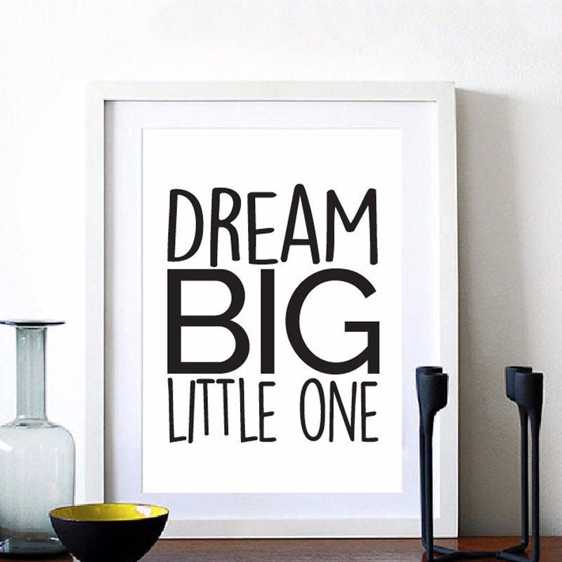 Inspirational Quotation Canvas Wall Art Black and White Poster Painting For Nursery Wall Childrens Room Home Decor