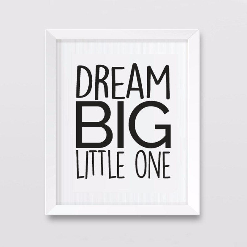 Dream Big Inspirational Quotation Canvas Wall Art Black And White Poster Painting For Nursery Wall Kids Room Home Decor