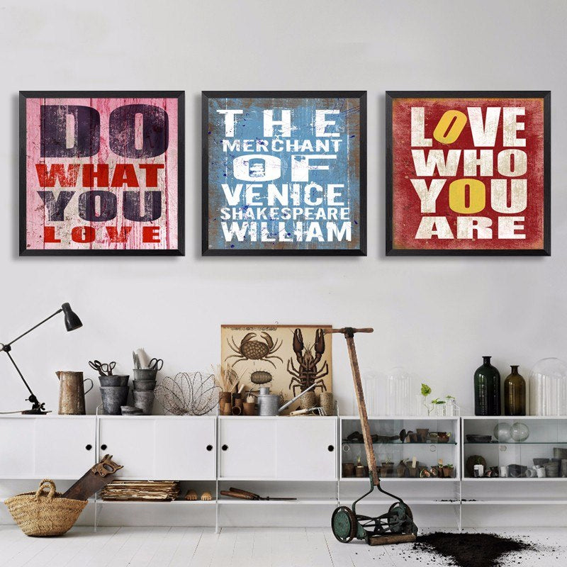 Inspirational Quotes Vintage Wall Art Canvas Posters Shakespeare Quotations Paintings For Cafe and Home Decor