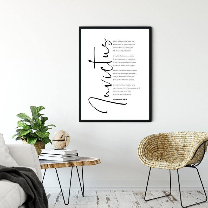 Invictus by William Ernest Henley Poem Print Wall Art Fine Art Canvas Print Black White Minimalist Inspirational Poster For Living Room Gallery Wall Decor