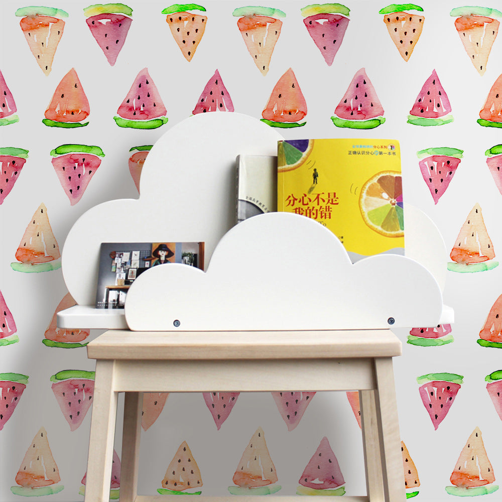 Just Watermelons Self Adhesive Vinyl Wall Mural Peel and Stick PVC Wallpaper For Decorating Walls Furniture Cabinet Surfaces Colorful Creative DIY Kids Room Decor