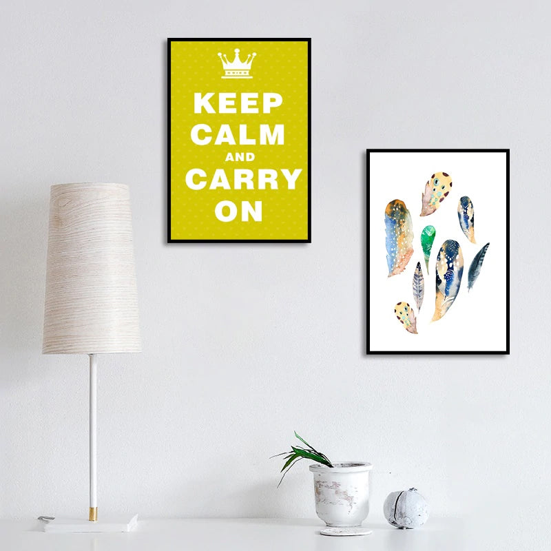 Keep Calm And Carry On Poster Wall Art Nordic Style Feathers Geometric Abstract Pictures Fine Art Canvas Prints Minimalist Scandinavian Wall Art Decor
