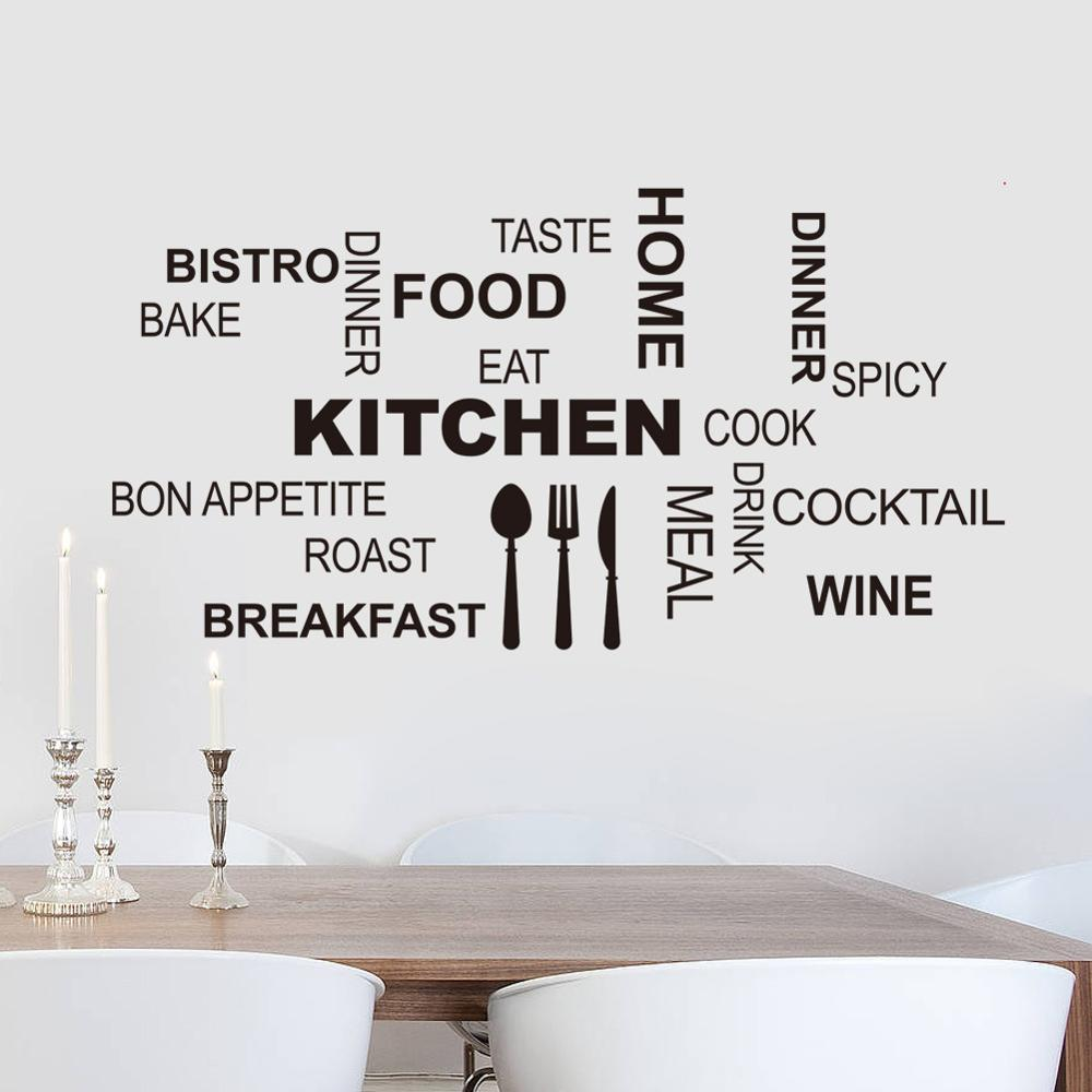 Kitchen Fun Word Mashup Wall Mural Removable PVC Vinyl Wall Decal For Restaurant Kitchen Dining Room Simple Creative DIY Wall Sticker Home Art Decor
