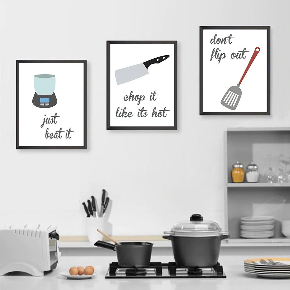 Kitchen Humour Wall Art Nordic Style Culinary Cooking Posters Fine Art Canvas Prints Cookery Baking Pictures For Cafe Kitchen Dining Room Wall Art Decoration