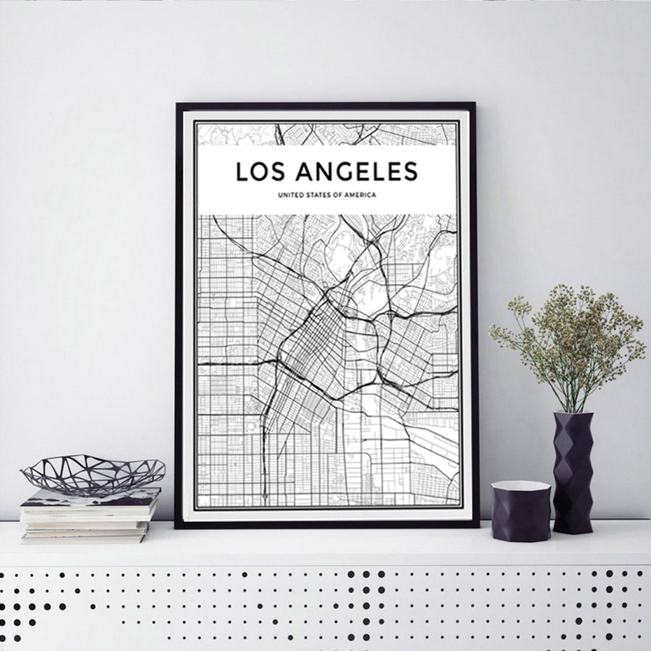 LOS ANGELES City Map Poster Minimalist Black & White Abstract LA Wall Art Canvas Prints For Office or Living Room Modern Home Decor