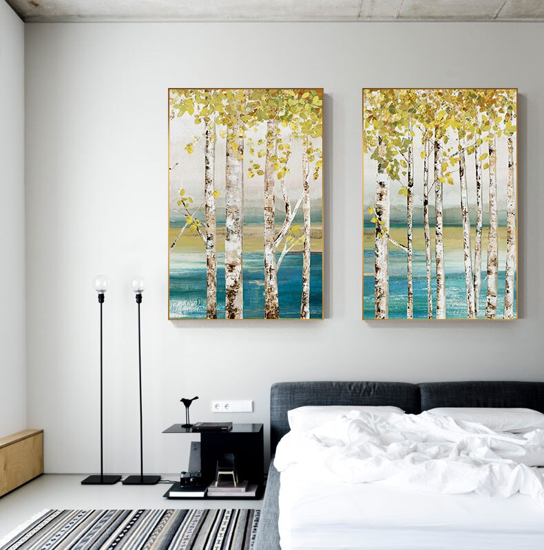 Lakeside Trees Natural Scenery Wall Art Fine Art Canvas Prints Nordic Style Landscape Pictures For Living Room Home Interior Decor