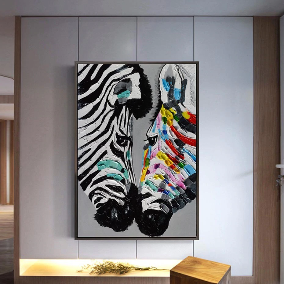 Large Modern Retro Abstract Zebras Oil Painting Fine Art Canvas Print Color Splash Contemporary Pictures For Office Living Room Bedroom Modern Home Wall Decor