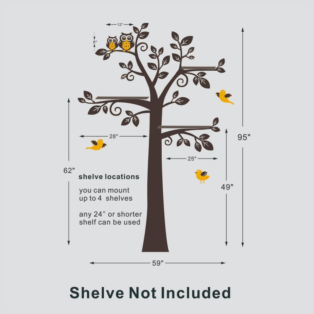 Large Tree With Owls And Birds Sweet Nursery Room Wall Art Decals Sticker Removable Vinyl Stickers for Kids Bedroom Decor
