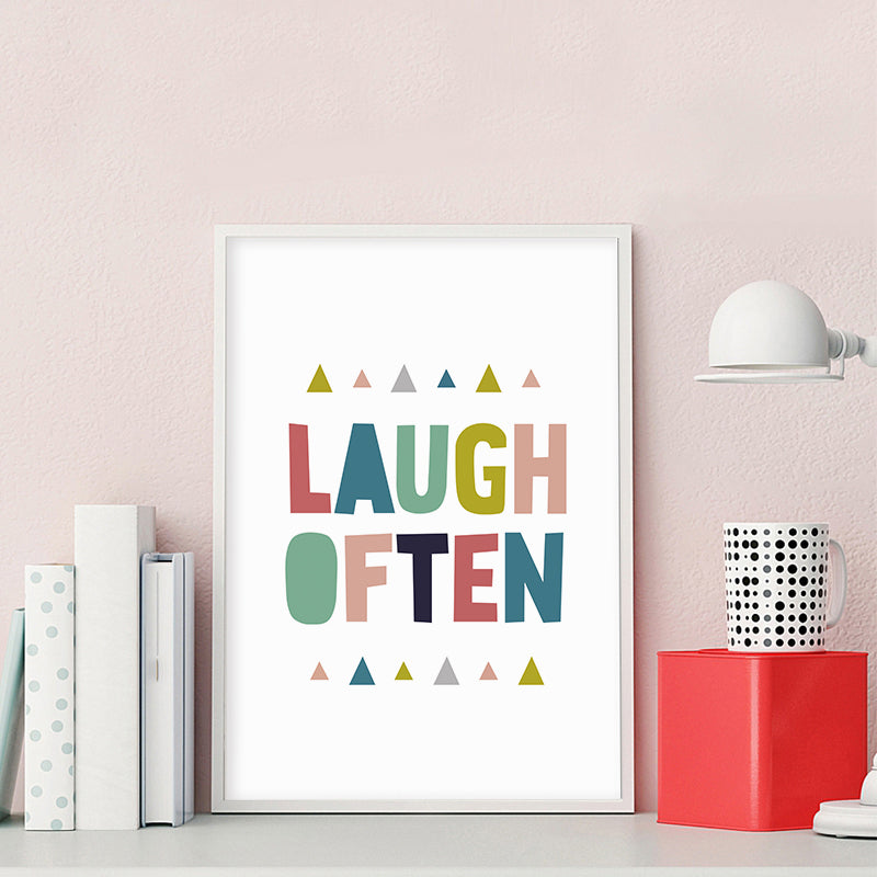 Laugh Often Colorful Life Quote Wall Art Fine Art Canvas Print Nordic Style Happy Minimalist Positive Quotation Poster For Kitchen Wall Decoration
