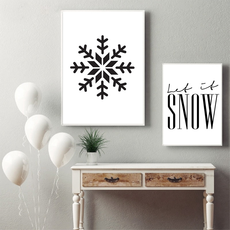Let It Snow Quote Snowflake Wall Art Black White Fine Art Canvas Prints Minimalist Nordic Posters For Living Room Dining Room Scandinavian Home Decor