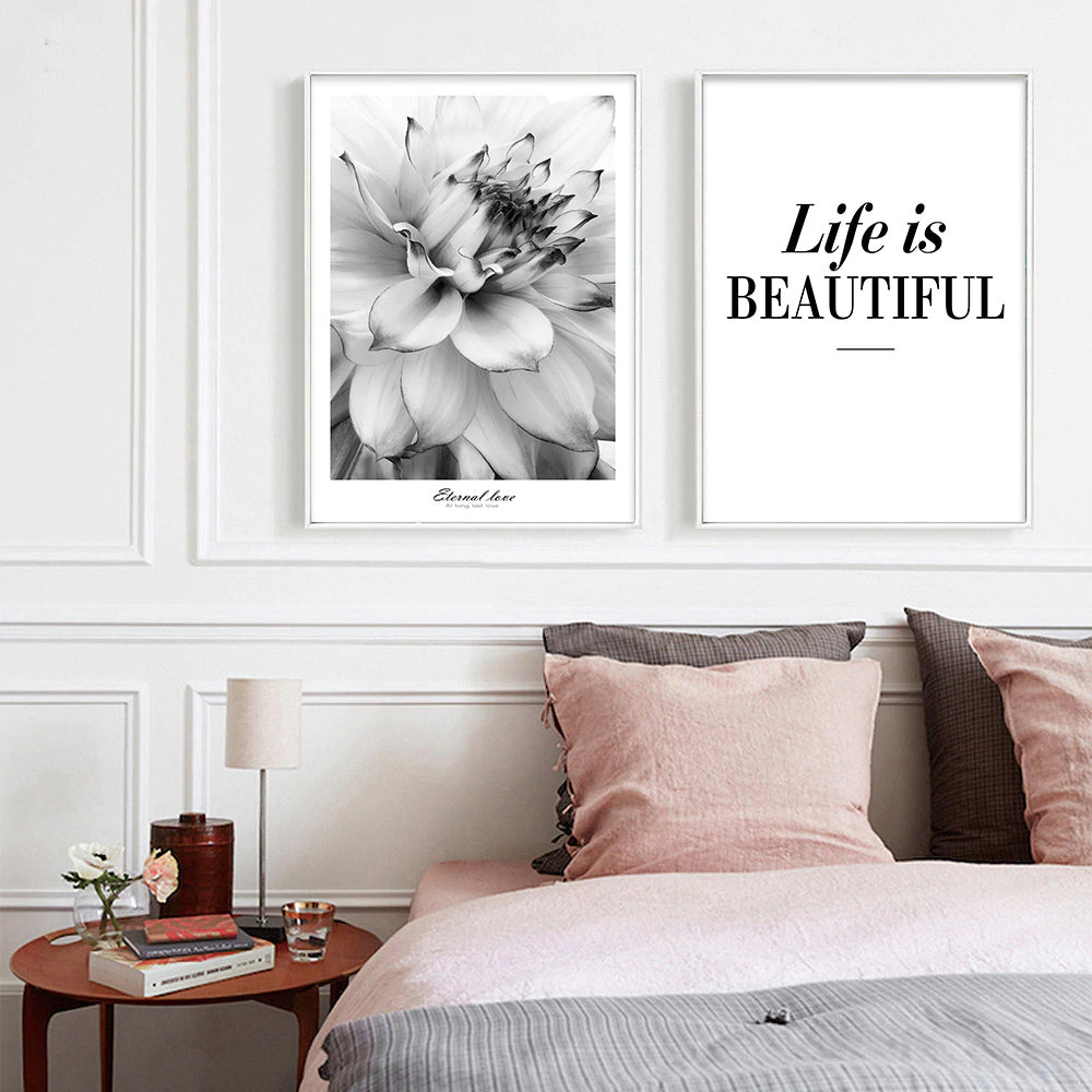 Life Is Beautiful Modern Black White Floral Wall Art Fine Art Canvas Prints Minimalist Quotation Nordic Style Pictures For Modern Home Decor