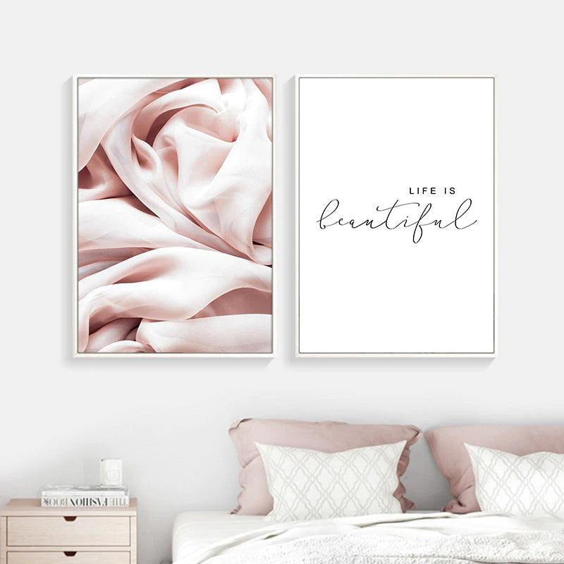 Life Is Beautiful Pink Abstract Wall Art Nordic Minimalist Quotation Fine Art Canvas Prints Modern Pictures For Bedroom Living Room Decor