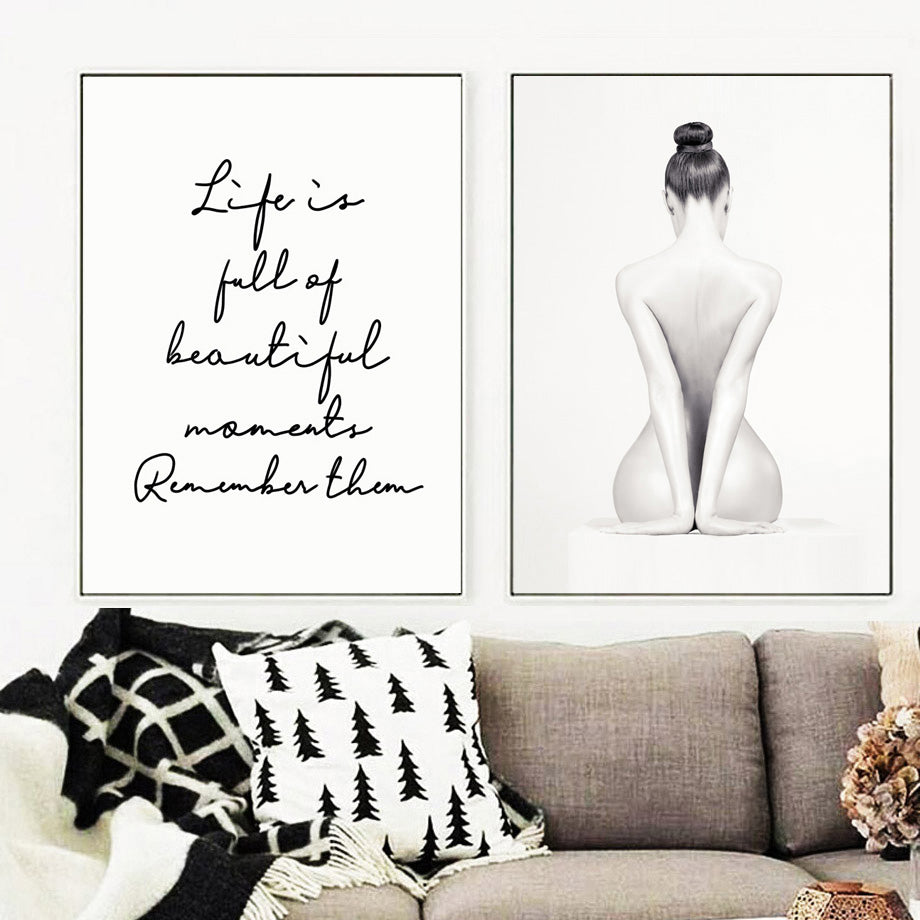 Life Is Full Of Beautiful Moments Black White Quotation Wall Art Fine Art Canvas Prints Minimalist Inspirational Nordic Style Posters For Living Room Bedroom Decor