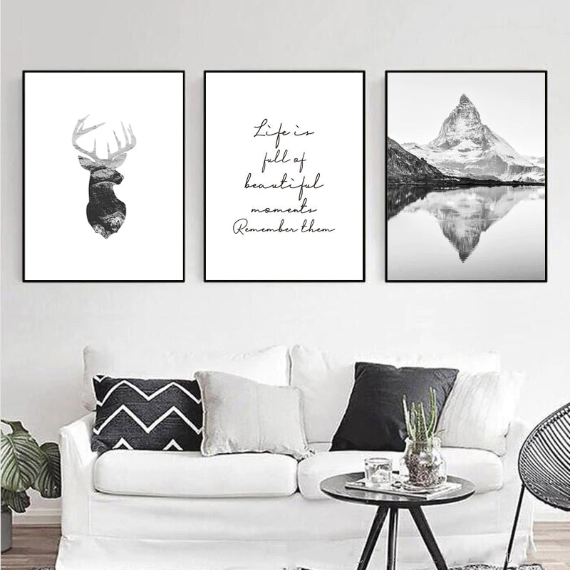 Motivational Quote Life Is Like A Mountain Print Inspirational Wall Art Poster