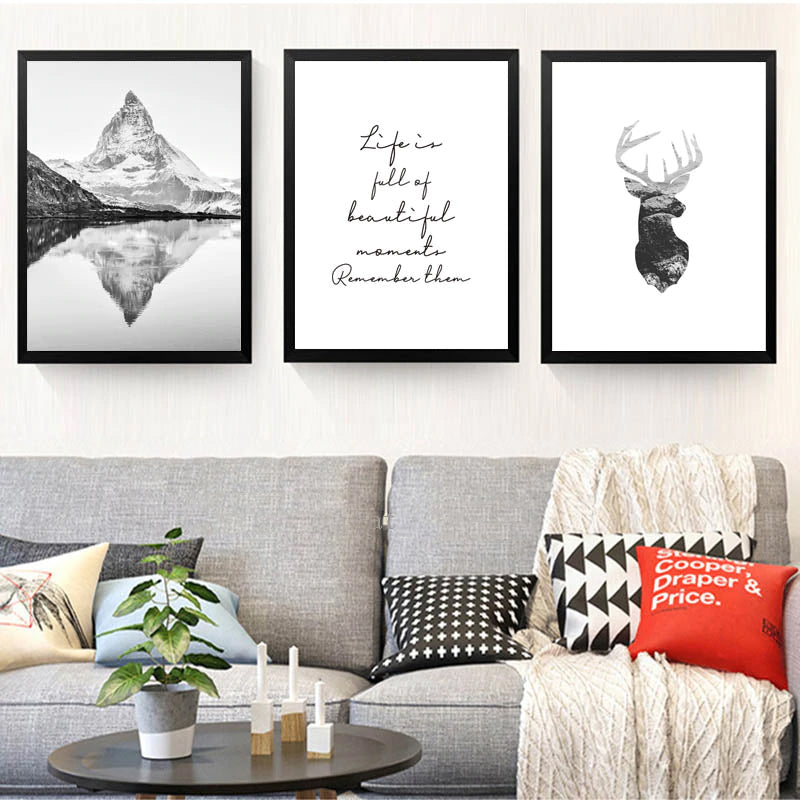 Life Is Full Of Beautiful Moments Inspirational Quotes Nordic Wall Art Mountains Deer Black & White Fine Art Canvas Prints Modern Home Decor