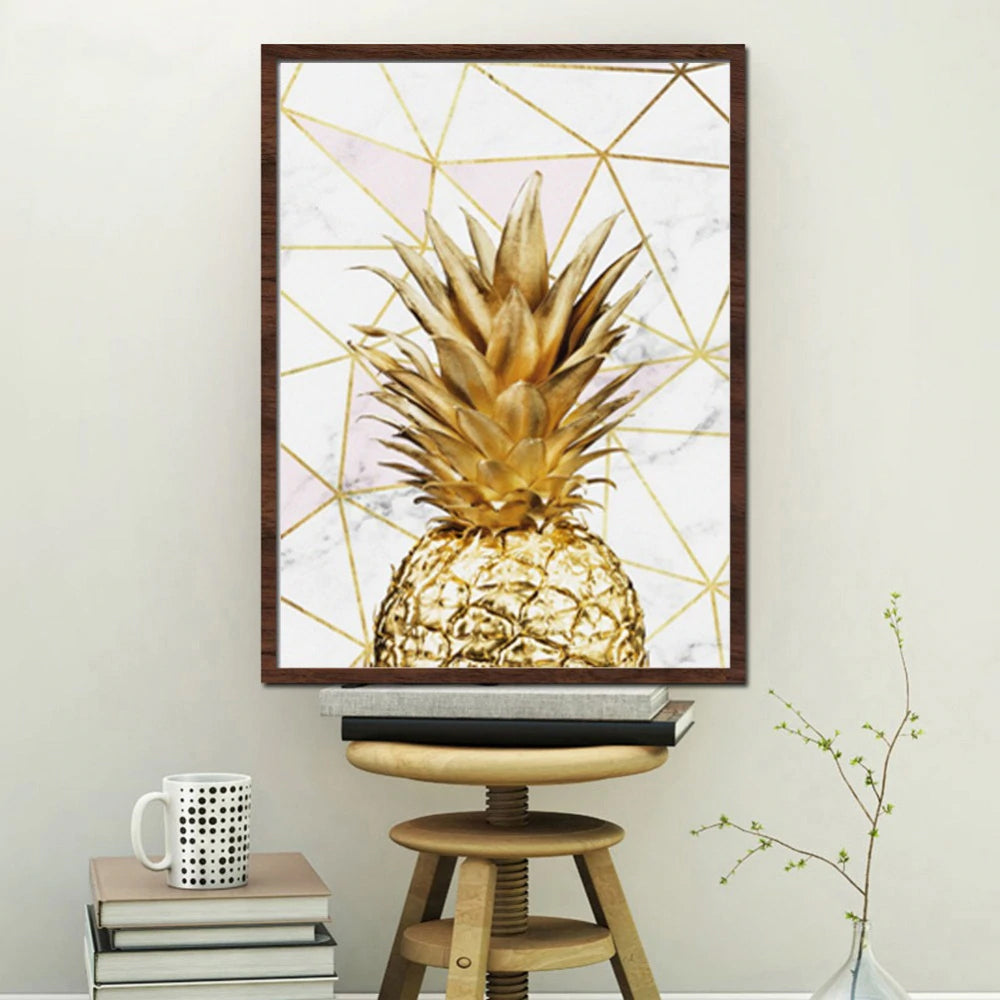 Life Is Not About Waiting For The Storm To Pass .. Nordic Style Minimalist Life Quotation Gold Pineapple Marble Background Fine Art Canvas Prints