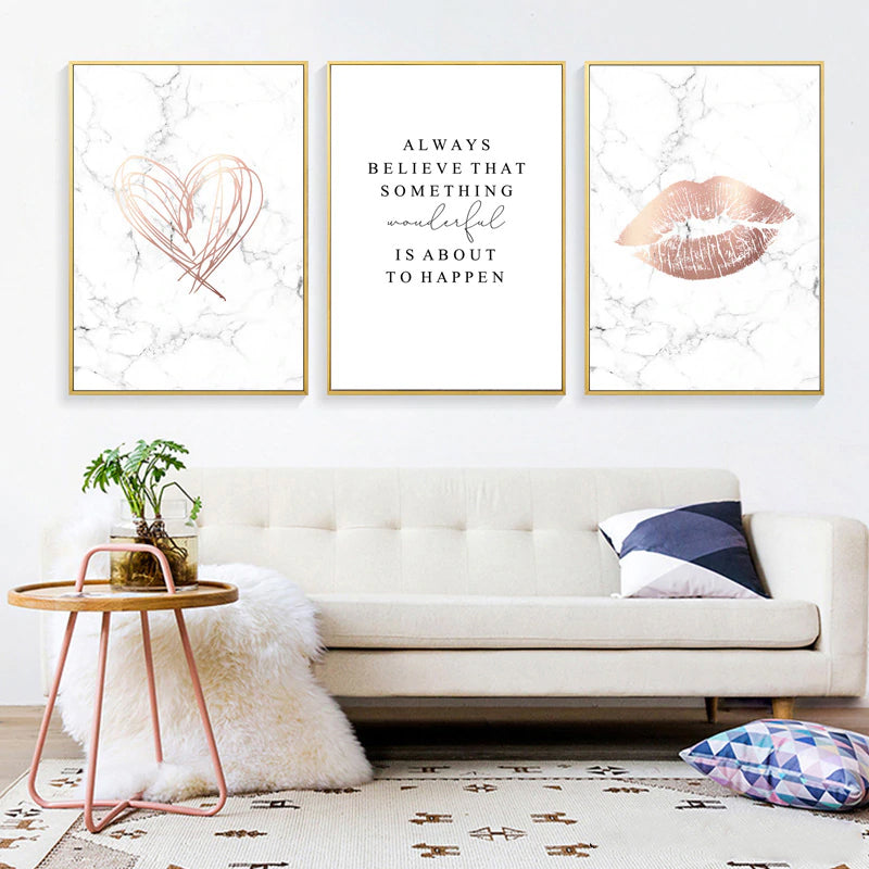 Lips And Love Heart Always Believe Quotation Wall Art Rose Gold White Marble Fine Art Canvas Prints Nordic Style Pictures For Glam Home Decor