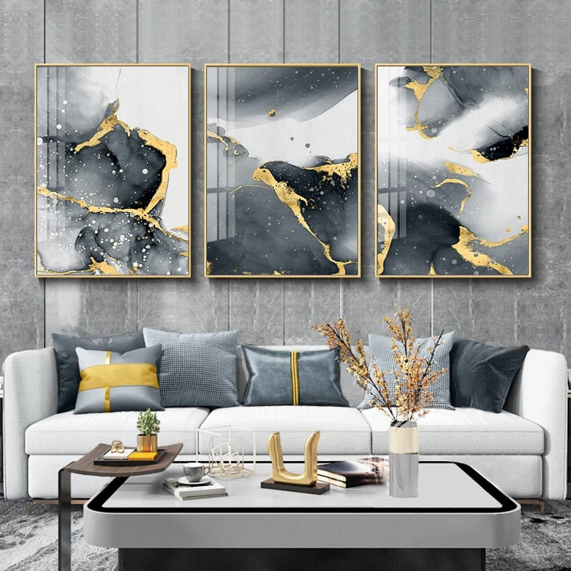 Liquid Golden Black Marble Wall Art Fine Art Canvas Prints Modern Pictures For Living Room Bedroom Contemporary Home Office Interior Decoration