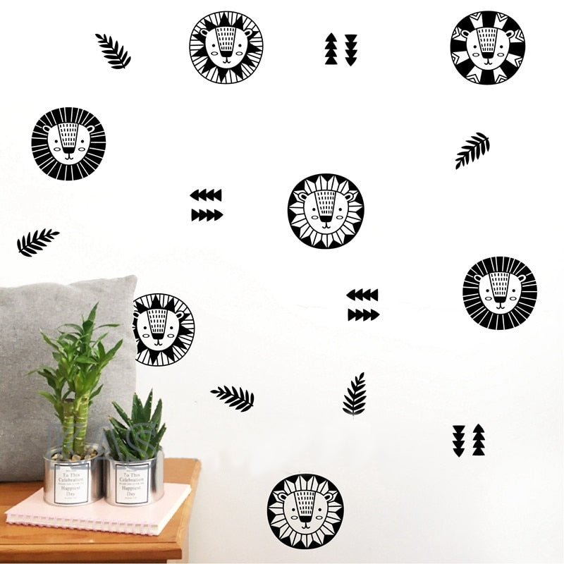 Cute Lion Motifs Wall Decals For Kids Room Decor Removable PVC Vinyl Wall Stickers Simple Creative DIY Wall Jungle Animals Mural Decoration For Nursery Room