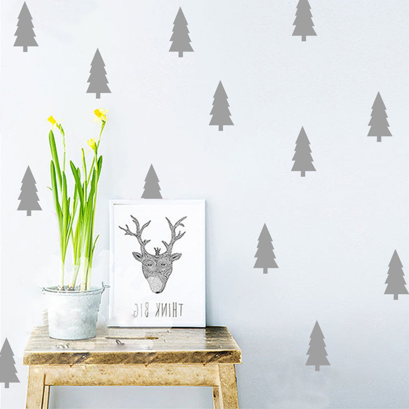 Little Pine Trees Nordic Style Wall Decals Removable DIY Vinyl Wall Sticker For Nursery Decor Kids Bedroom Art Mural Creative Decor 18pcs/set