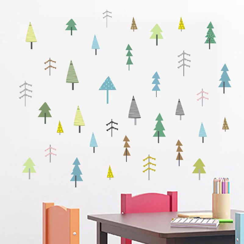 Little Trees Nordic Woodland Nursery Wall Art Decor DIY Removable Vinyl Wall Stickers Cute Nature Wall Mural For Colorful Kids Room Creative Wall Art Decoration