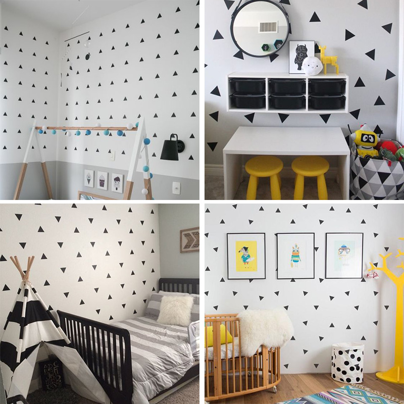 Little Triangles Wall Decals For Baby Boy's Room Removable Decorative Sticky Triangles Wall Stickers For Kid's Bedroom Nursery Wall Decor