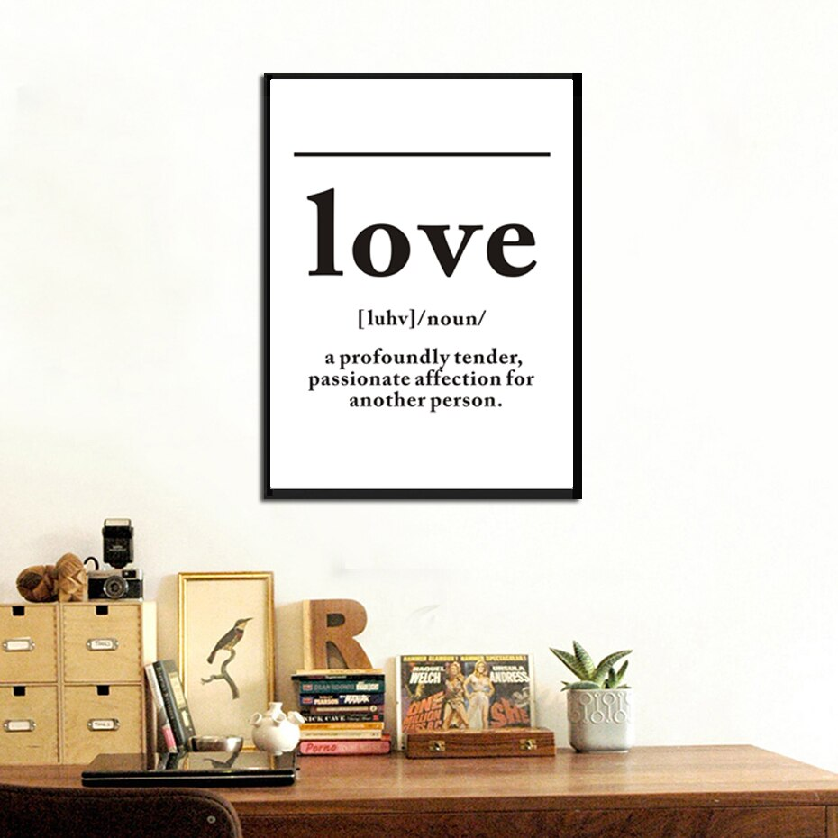 Love And Ampersand Black And White Minimalist Quotation Wall Art Simple Definition Of Love Fine Art Canvas Prints Pictures For Nordic Style Home Interior Decor