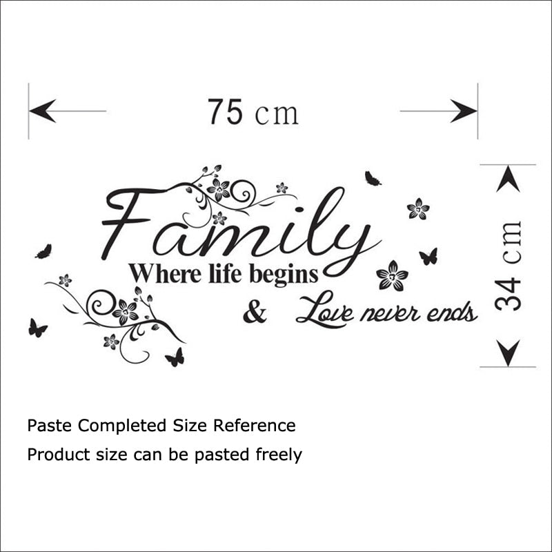 Love Family Quote Wall Mural Removable Typographic PVC Vinyl Wall Decal For Decorating Family Living Room Dining Room Simple Creative DIY Home Decor