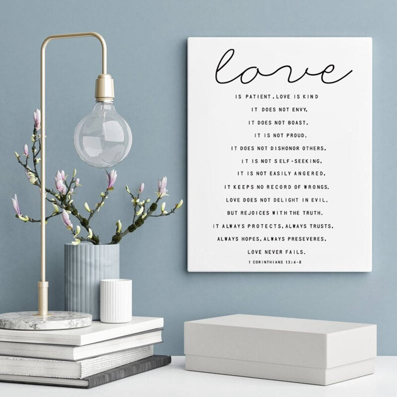Love Is Patient Love Is Kind Quote Wall Art Black & White Heart Shaped Typographic Handwritten Poster Print Romantic Gift For Friend Or Family