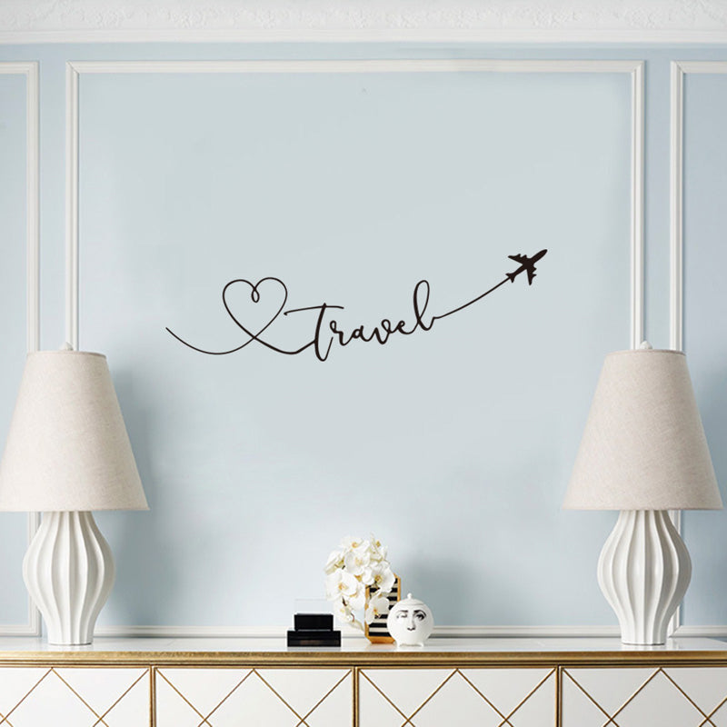 Love Travel Wall Decals PVC Decorative Wall Stickers Heart Travel Themed Typographic Quote Word Art Creative DIY Removable Self-Adhesive Wall Decoration