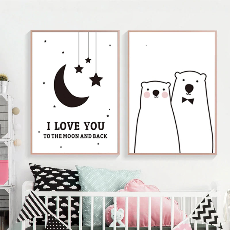 Loveable Nordic Nursery Wall Art I Love You To The Moon And Back Quotations Wall Art Posters For Kids Room Baby Nursery Decoration