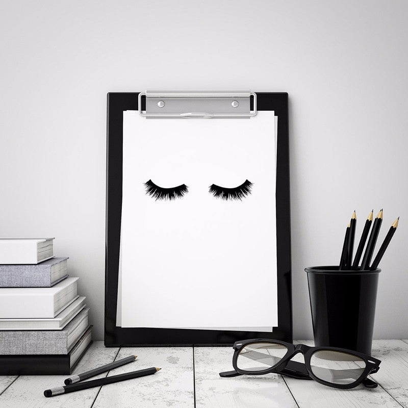 Lovely Lashes Scandinavian Wall Art Minimalist Black and White Beauty Fashion Canvas Painting For Salons Bedrooms or Living Rooms