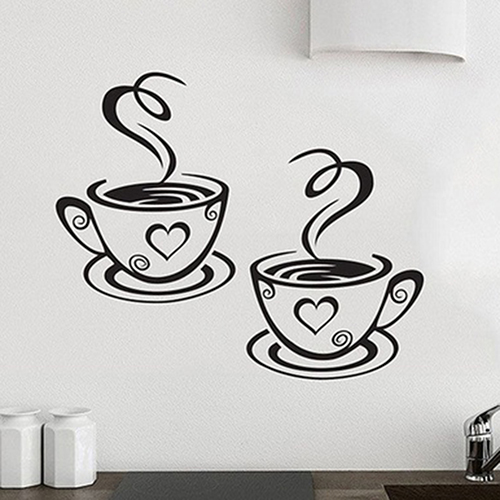 Lovers Coffee Cups Pair of Hot Tea Cups Cafe Style Wall Art Murals Removable PVC Wall Decals For Kitchen Coffee Shop Cafe Decor