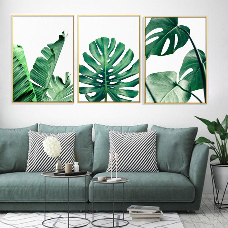 Wall Art Canvas Prints.Lush Green Leaves Posters Tropical Plants Flora Fine Art Canvas Prints Nordic Wall Art For Living Room Dining Room Modern Home Decoration