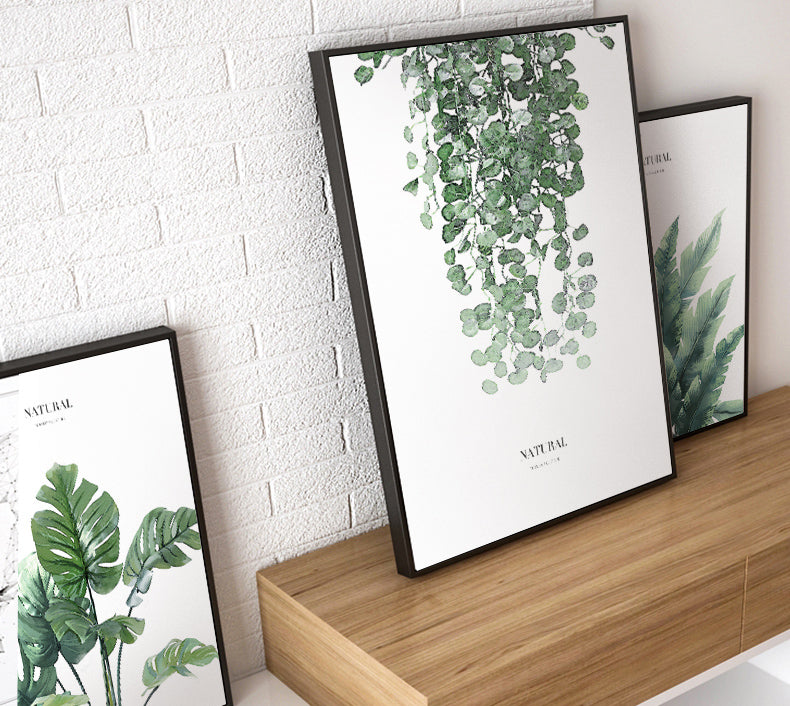Lush Green Leaves Tropical Botanic Wall Art Natural Greenery Fine Art Canvas Prints Plant Pictures For Living Room Dining Room Modern Floral Wall Art Decor